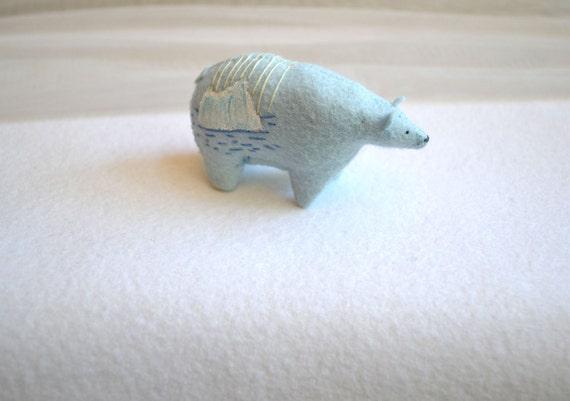 blue glacier spirit bear - felt bear soft sculpture by mountroyalmint