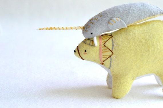 big yellow spirit bear - felt plush artist bear