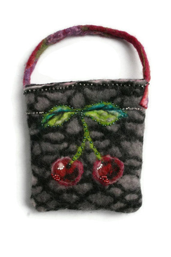 Felt Purse Bag  - Black and Grey with Vintage Beaded Cherry and Fruit Design