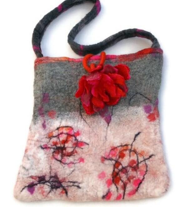 Felted Felt Purse Bag Handbag with Felt Flower White Cream Pink Red Orange