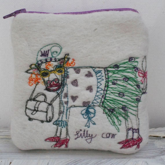 Machine Embroidered Cow Felted Change Purse