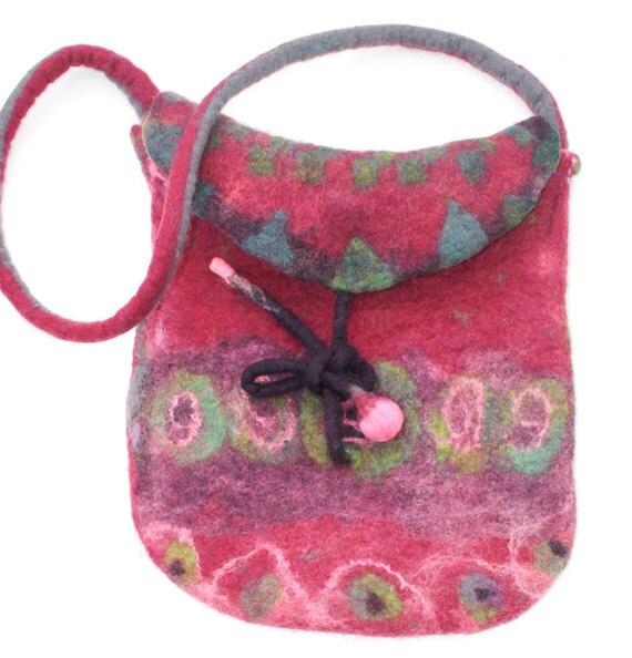 Handmade Felted Purse Felt Bag - Shoulder Bag Raspberry & Pink