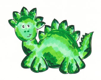 Green Dinosaur 5 x 7