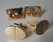 Men's Goldtone Cuff Links - 1950s, Marked Hickok Japan, 2 pair
