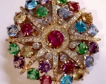 Vintage Jewelry Destash - Multicolor & Irridecent Rhinestones, Starburst Pin Plus Bonus