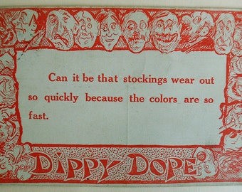 Dippy Dope Postcard, 1915, Stocking Wear Out