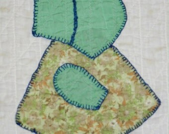 Sunbonnet Sue Crib Quilt with hand embroidery- 1930s era textile