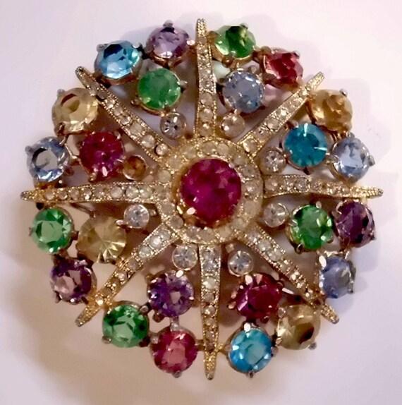 Vintage Jewelry Destash - Multicolor & Irridecent Rhinestones, Starburst Pin Plus Bonus