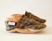 Woodland Plaid Loafer Booties Size 12 to 18 Months Toddler Size 4 Slippers Ready to Ship