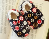Typewriter Bison Booties Size 6 to 12 Months baby Size 2-3 Ready to Ship alphabet font abc