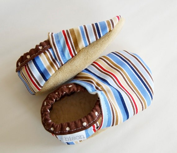 Buster Bison Booties Size 6 to 12 Months Toddler ready to ship striped baby boy