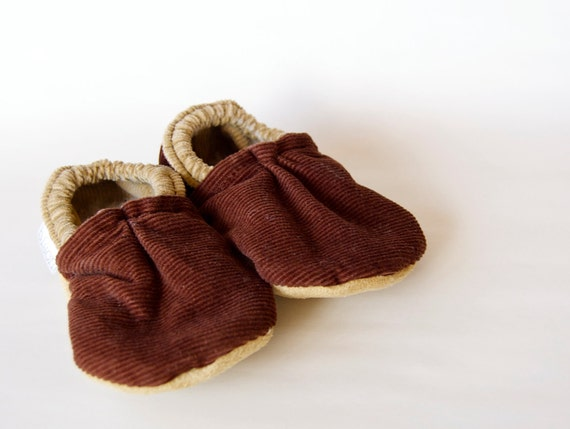 Cordoury Brown Bison Booties Size 0 to 6 Months Baby Newborn Ready to Ship