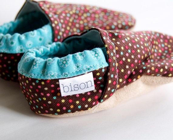 Bubblegum Bison Booties Size 0 to 6 Months Newborn Ready to Ship gift polka dot