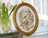 vintage pressed flower wall hanging