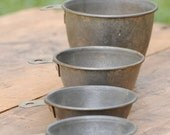 vintage mary ann metal measuring cups - farmhouse metal measuring cup set - kitchen metal cups