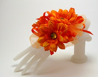 Corsage, Orange Corsage, Mother's Day Gift, Corsage with Detachable Hair Clip, Wrist Corsage, Hair Clip, Corsage with Hair Clip