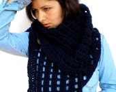 Navy Blue Asimetric Triangle Shawl Super Soft Crocheted Big Shoulder Warp Wood butons Scarf NEW COLECTION