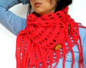 Passion Red  Asimetric Triangle Shawl Super Soft Crocheted Shoulder Warp Wood butons Scarf NEW COLECTION