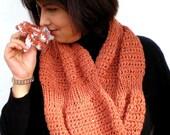 Original Knit and Crochet Cowlnwck soft mixed Wool  Circle Scarf Woman Circle Scarf