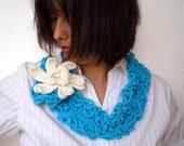 Turcoise Crochet Cowlneck Super Soft  Wool Scarf woman Romantic Cowl/Scarflette NEW COLECTION