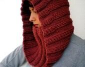 SALE Bordeaux Hood Cowl Super Soft Mived Wool Knit Hood Cowl Woman Hood