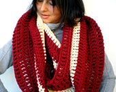 Bicolor Chunky Circle Scarf Hand Crocheted Circle Scarf Woman Circle Scarf NEW OLECTION
