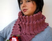 Fuzzy Flower  Crochet Cowlneck Super Soft  Wool Scarf woman Romantic Cowl/Scarflette NEW COLECTION