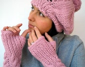 Pom-Pom Set Beret Hat and Fingerless Gloves Super Soft Trendy  Pink Hand Knit Set Hat and Gloves NEW COLLECTION
