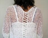 RESERVED White Miror Shrug Bolero Hand Knit Soft Elegant Woman Shrug  NEW COLLECTION