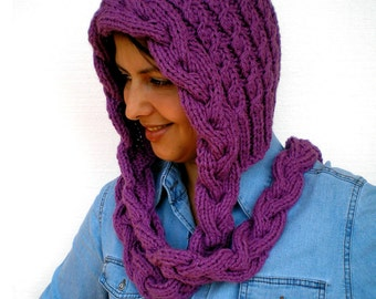 Sweet Violette Hat  soft mixed  Wool Hat  Hand Knit Cabled Hat Hood NEW COLECTION