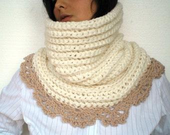 Beige Flower  Cowl Super Soft Mixed Wool Neckwarmer Woman Cowl