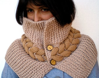 Trendy New Design Cowl Super Soft Wool Neckwarmer Woman Original Butons Wood Cowl