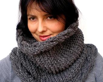 Stone Double Face Braid Grey Big Design Cowl Super Soft Original tweed Neckwarmer Woman Cowl NEW COLECTION