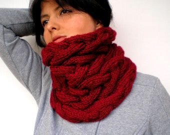 Love Dark Red Cowlnwck Super Soft Acrilyc Yarn Neckwarmer Woman  Cowl NEW COLECTION