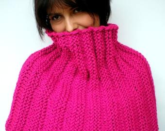 Magenta Fashion  Rib Chunky Big Cowl Hand Knit Circle Neckwarmer Scarf  Soft  Acrilyc Big Cowl  NEW COLLECTION