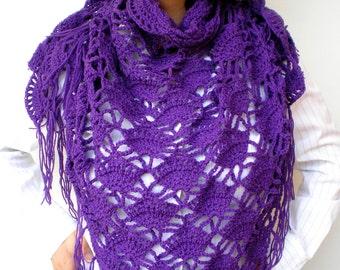 Sharon Triangular Scarf Super Soft mixed   Wool Shawl Crocheted Woman Shawl NEW COLLECTION