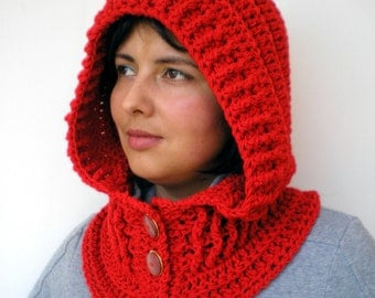 Red Fairy Hood Cowl  Super Soft  merino    Wool Crocheted Hood Cowl Woman Hood NEW COLLECTION