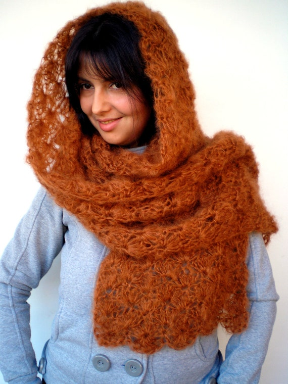 Autumn Spice Crocheted Scarf Extralong Super soft Mohair Wool Scarf Woman Scarf NEW