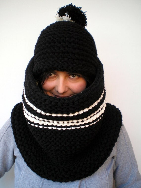 Black Winter Set Hat and Cowl mixed Wool Hat and Cowl Knitting  Set Chunky Set NEW