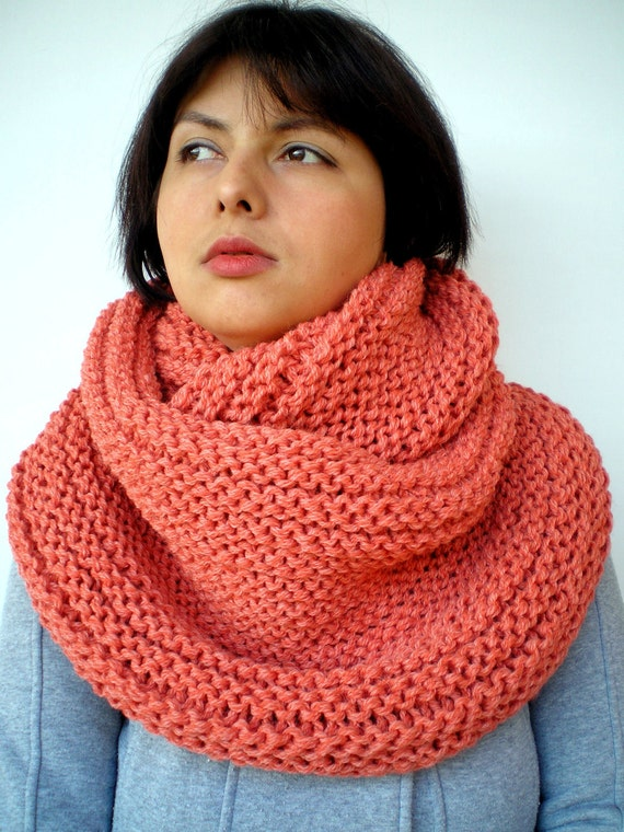 Lobster  Rib Chunky Circle Scarf Hand Knit Circle Scarf  Soft   Alpaca Unisex Scarf NEW COLECTION