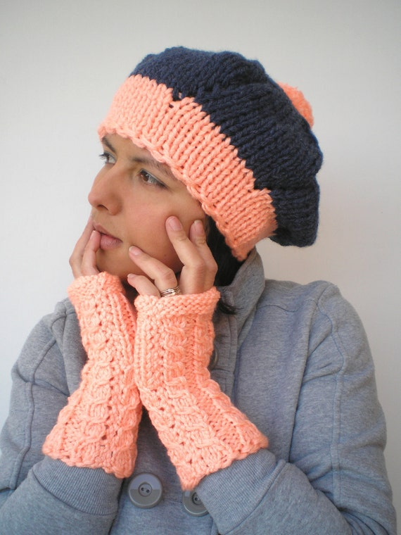 Pom-Pom  Set Beret Hat and Fingerless Gloves Super Soft Trendy Dark Blue and Neon Peach Hand Knit Set Hat and Gloves NEW COLLECTION