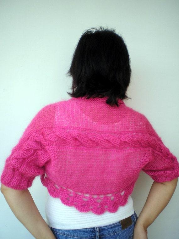 Fucsia Braid  Cabled Shrug Bolero Hand Knit Soft Elegant Mohair Wool  Woman Shrug  NEW