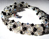 Woven Bracelet Genuine Swarovski black and white crystal edged-made to order FREE SHIPPING