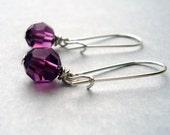 Dangle Earrings Genuine Swarovski Amethyst Purple Crystal and Sterling Silver