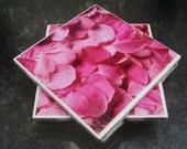 Ceramic Tile Coaster Set of 4 Pink Rose Petals - FREE US SHIPPING
