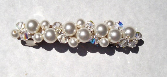 barrette hair clip flower girl or bridal white swarovski crystal and pearl FREE SHIPPING