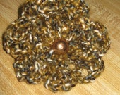 Mustard, brown, grey, white, multicolored crochet flower scrunchy w/gold button