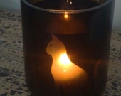 Upcycled cat silhouette candle tumbler