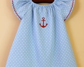 Sailor peasant baby dress Light blue polka dots and red Nautical embroidery Size 9 - 12 months