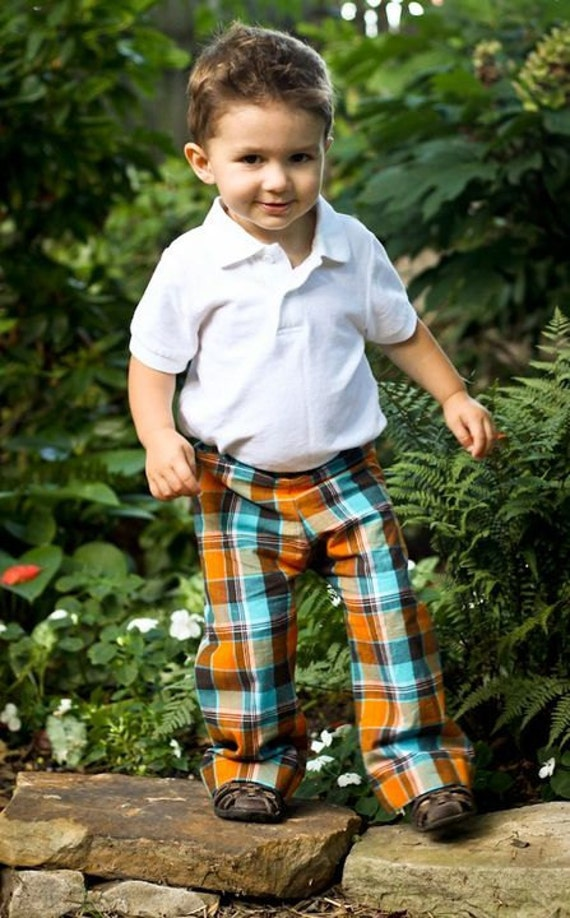 Madras plaid Pants for boys Size 1T 2T 3T 4 5 by JMhandmade